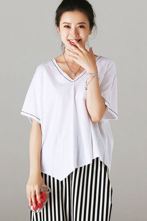 Fashion V Neck Bat Sleeve Cotton T Shirt Women Loose Blouse T6115