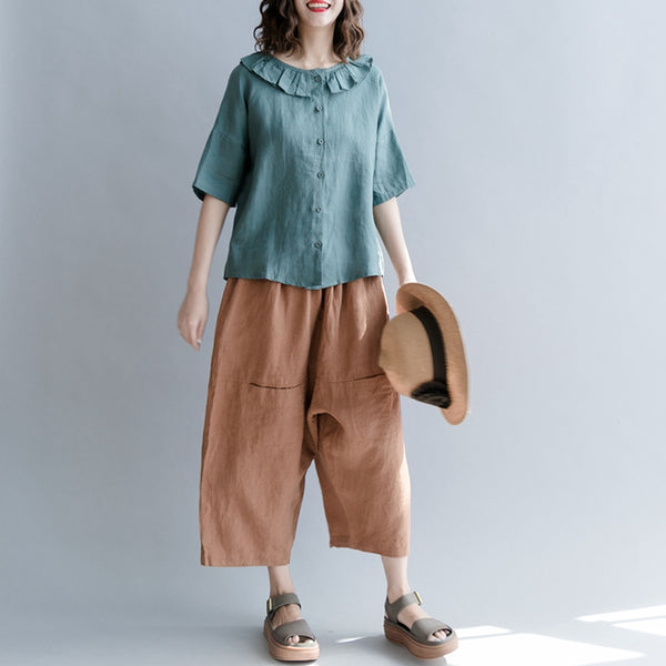 Vintage Button Down T Shirt Women Cotton Linen Blouse S1861