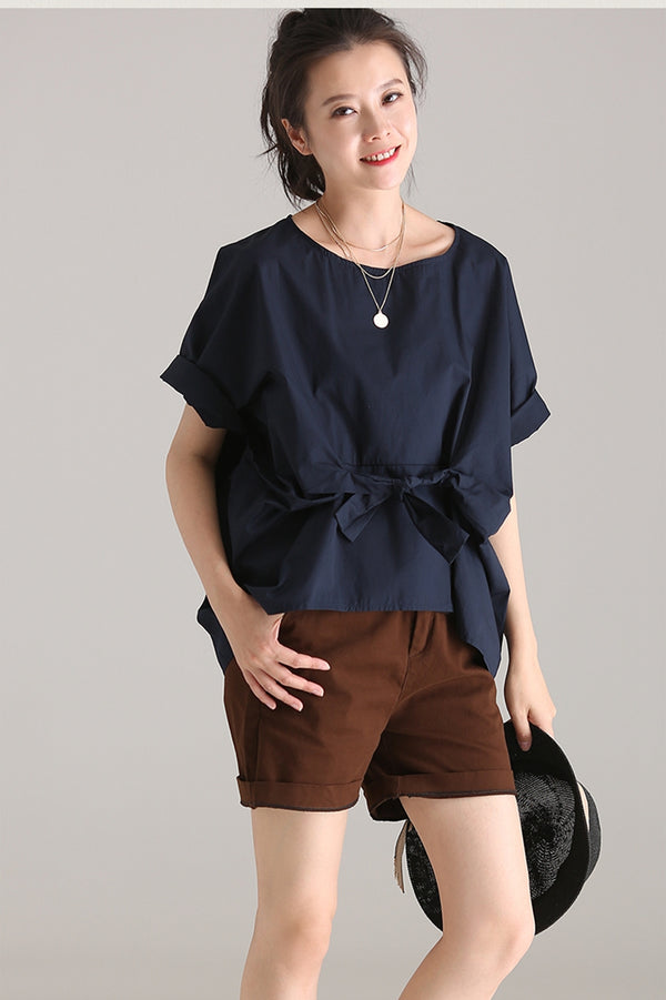 Casual Bat Sleeve Thin Cotton T Shirt Women Loose Blouse C1769 - FantasyLinen