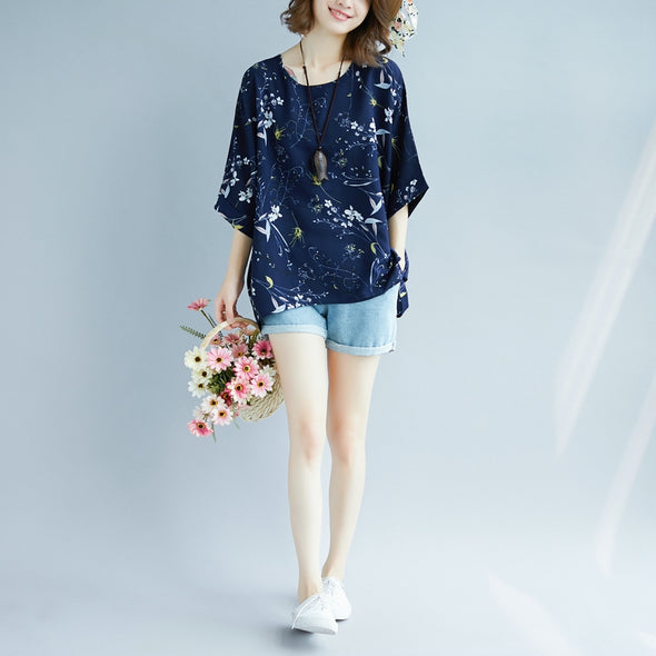 Cute Loose Chiffon T Shirt Women Fashion Blouse S9076