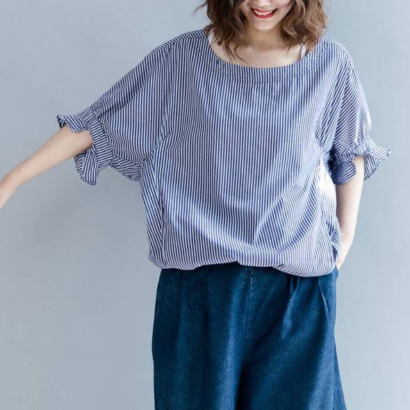 Cute Puff Sleeve Cotton Medium Length Striped T Shirt Women Blouse S2858