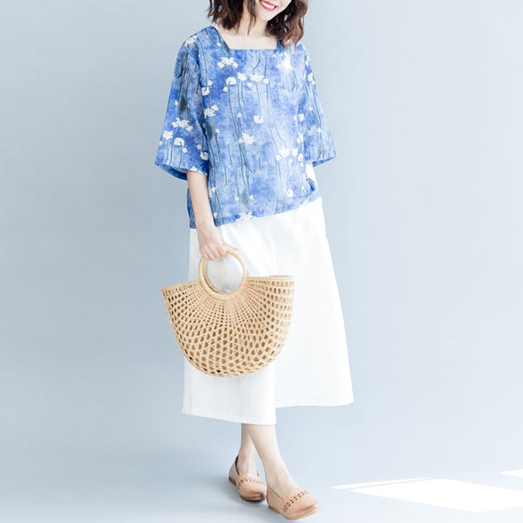 Casual Floral Cotton Linen T Shirt Women Cute Blouse S2073