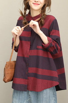 Casual Art Button Down Stand Collar Long Sleeve Blouse Q7661