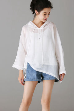 Casual Hoodie Cotton Linen T Shirt Women Loose Blouse C8122