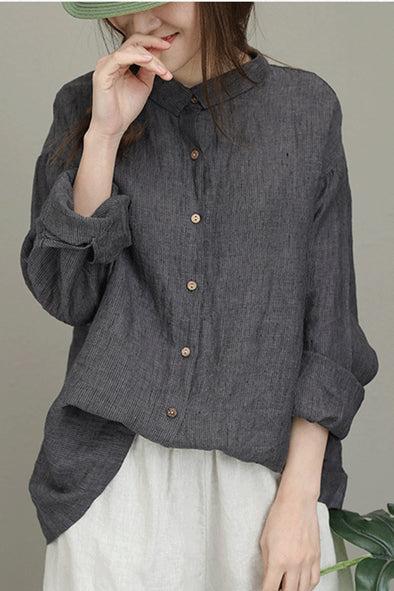 Vintage Striped Linen Shirt Women Loose Blouse Q8011