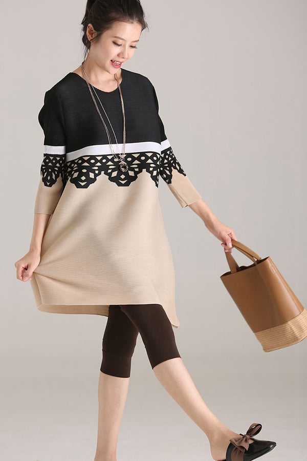 Round Neck Medium Length T Shirt With Sleeves Women Fashion Blouse C8567