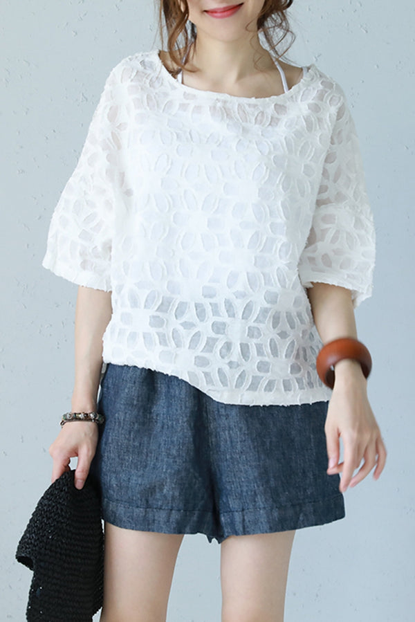 Vintage Cute T Shirt Women Loose Blouse Q1167