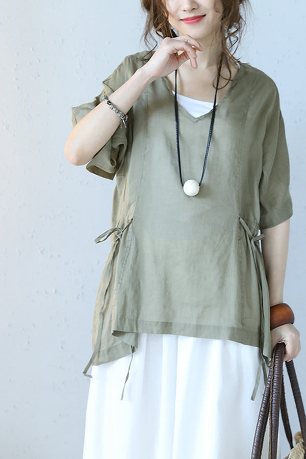 V Neck Drawstring Linen Doll T Shirt Women Blouse Q1091