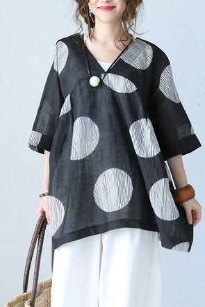 Summer Fashion Big Dot Drawstring Doll T Shirt Women Blouse Q1038