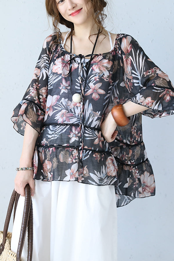 Cute Floral Printed Quilted Doll T Shirt Women Tops Q1050