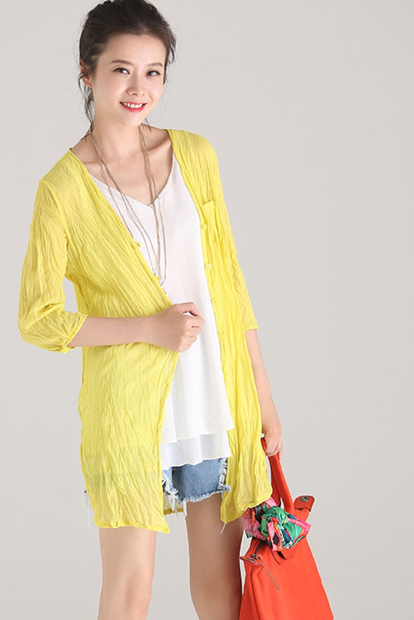 Casual Thin Chiffon T Shirt Women Lycras C1138 - FantasyLinen