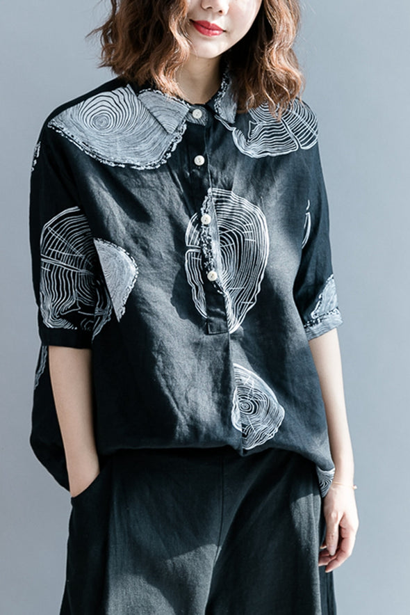 Elegant A Sweep Lapel Printed T Shirt Women Blouse S2853