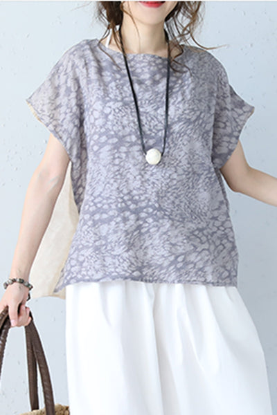 Casual Round Neck Floral Quilted Linen T Shirt Women Blouse Q1089