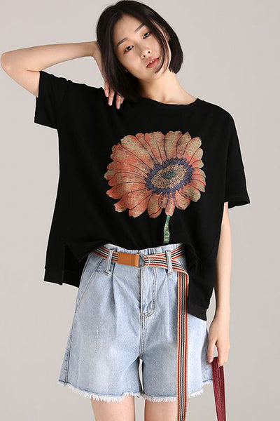 Loose Flower Print T Shirt Women Cotton Blouse T9927