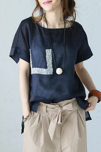 Fashion Round Neck Linen T Shirt Women Casual Blouse Q1180
