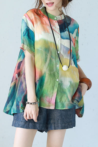Vintage Colorful Button T Shirt Women Print Blouse Q1155