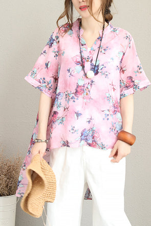 Vintage Cute Floral T Shirt Women Casual Blouse Q1220