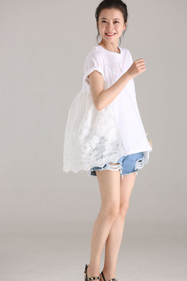 Round Neck Quilted Sheer T Shirt Women White Cotton Blouse T1879