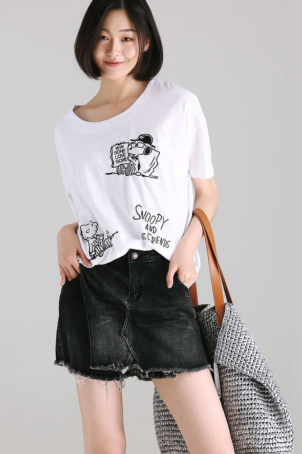 Casual Cartoon Print Cotton T Shirt Women White Blouse T9957 - FantasyLinen