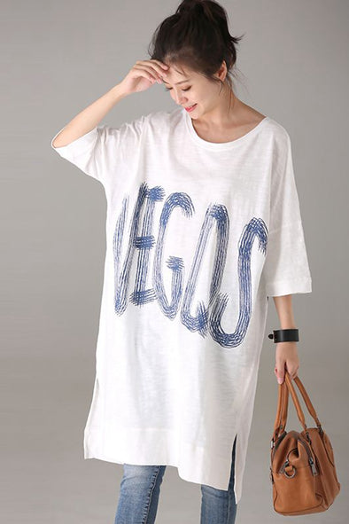 Loose White Print Cotton T Shirt Women Casual Blouse T1232