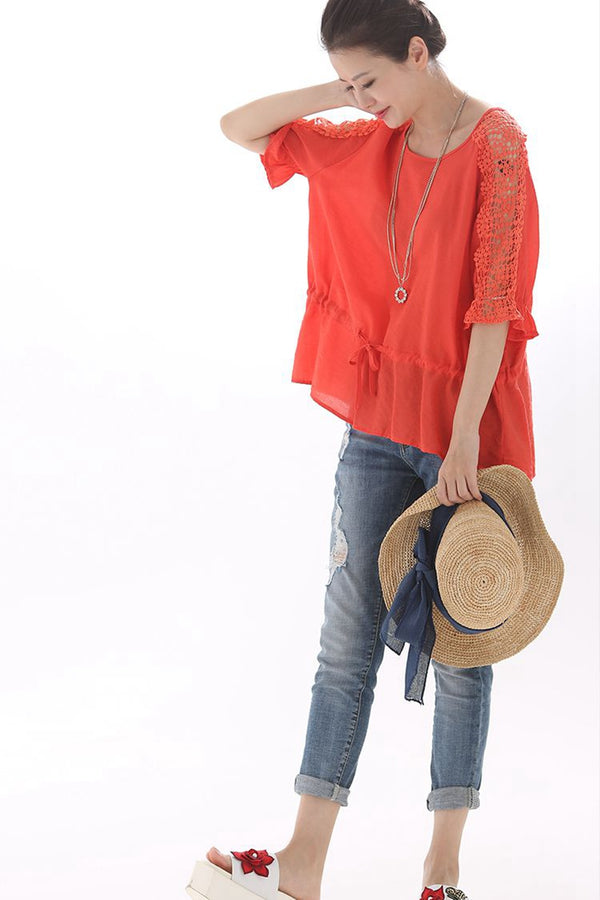 Loose Lace Up Quilted Bat Sleeve Short T Shirt Women Tops C8102