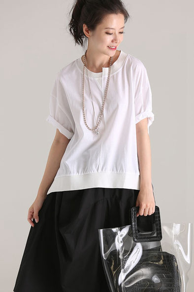 Cute Quilted Round Neck White T Shirt Women Cotton Blouse T610