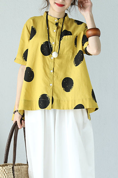 Casual Dot Print T Shirt Linen Clothes For Women Q980