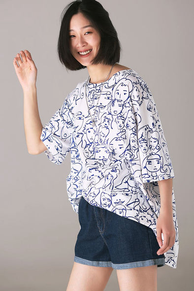 Casual White Print T Shirt Women Loose Cotton BlouseT3132