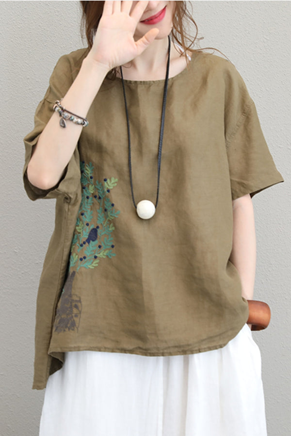Vintage Loose Embroidery Linen T Shirt Women Casual Blouse Q1136