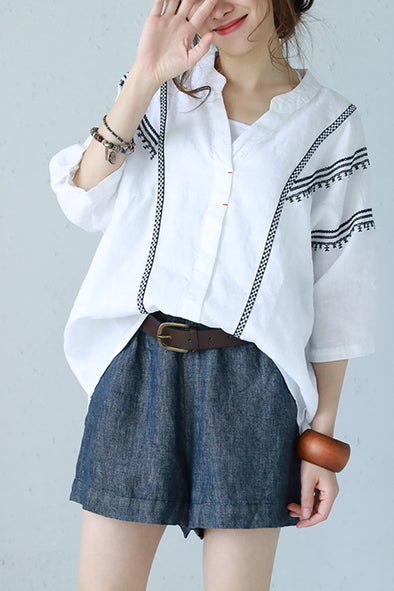 Vintage Plus Size Embroidery T Shirt Women Linen White Blouse Q1168