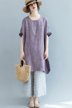 Plus Size Purple Long T Shirt Women Linen Blouse S2562