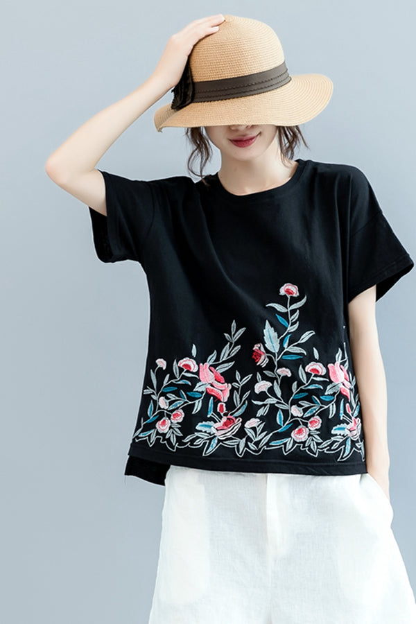 Cute Embroidery Black T Shirt Women Cotton Blouse S2074