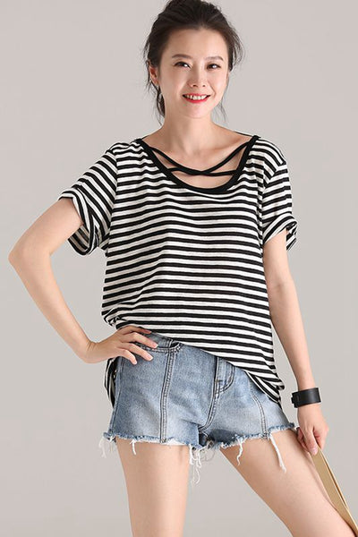 Fashion Black Striped T Shirt Women Casual Blouse T9922