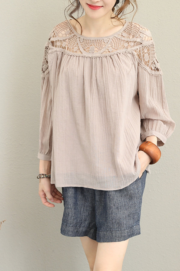 Loose Short Lace T Shirt Women Elegant Blouse Q1255