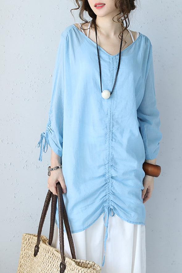Fashion Drawstring Medium Length Thin T Shirt Women Blouse Q1073