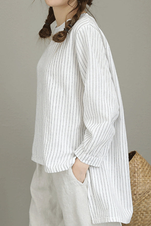 Casual Striped White And Black T Shirt Women Linen BlouseQ8181 - FantasyLinen