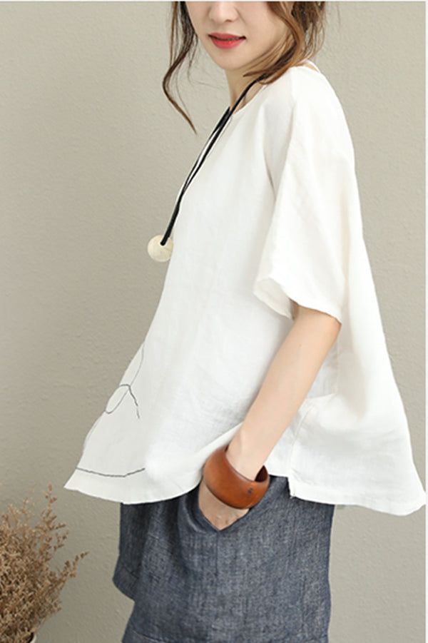 Summer Embroidery 100% Linen T Shirt Women Casual Blouse Q1265