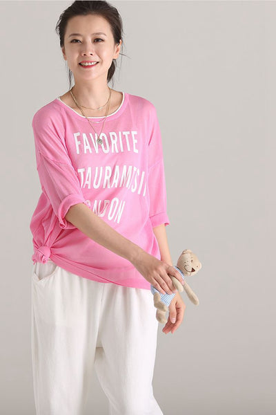 Cute Round Neck Letter Print T Shirt Women Casual Blouse Z1309