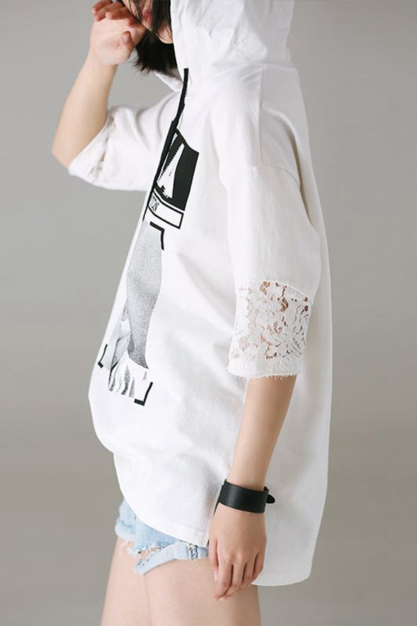 Casual Hoodie Print White T Shirt Women Cotton Clothes T856