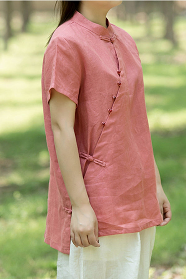 Summer Chinese Style Button Down Short T Shirt For Women S1453