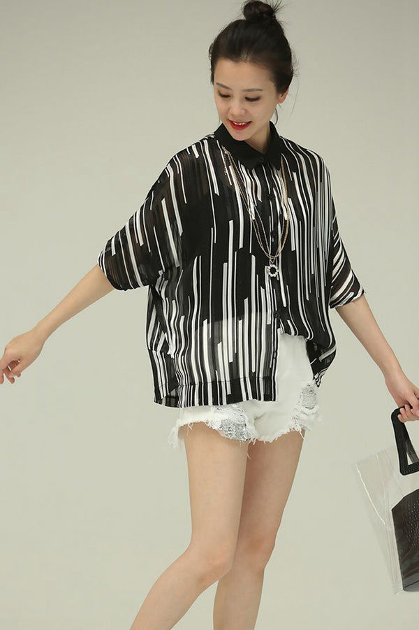 Summer Square Neck Striped Bet Sleeve Chiffon T Shirt Women Blouse C988