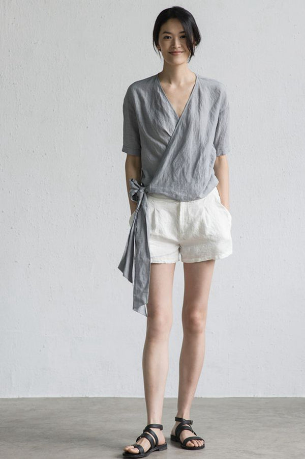 Summer Casual Belted Gray Linen T Shirt Women Tops LT Design L1457
