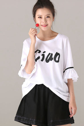 Cute Quilted Cotton T Shirt Women Casual Blouse T1826