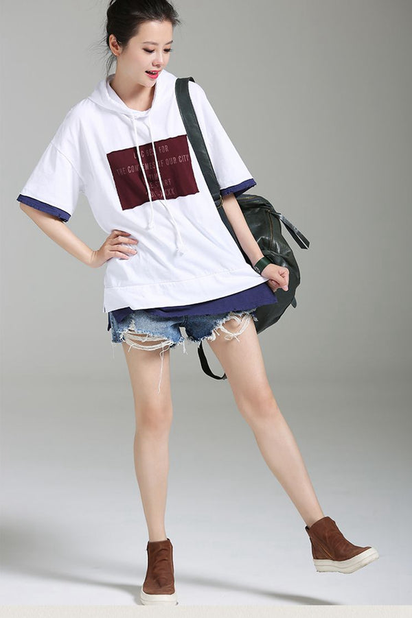 Loose Hoodie Appliques Short Cotton Women T Shirt T1866