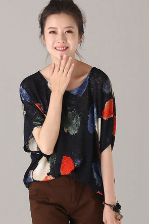 Summer Loose Kitted Blue T Shirt Women Fashion Blouse T7798