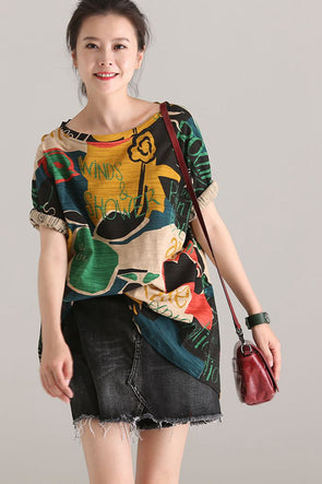 Loose Colorful Print Cotton T Shirt Women Casual Blouse T7070