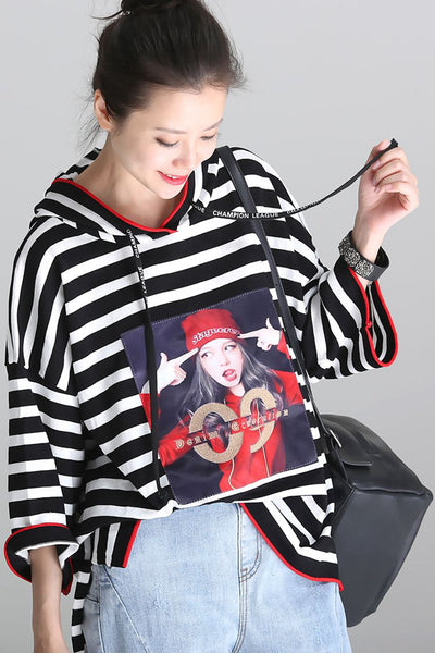 Cute Hoodie Printed Striped Drawstring Black T Shirt T333