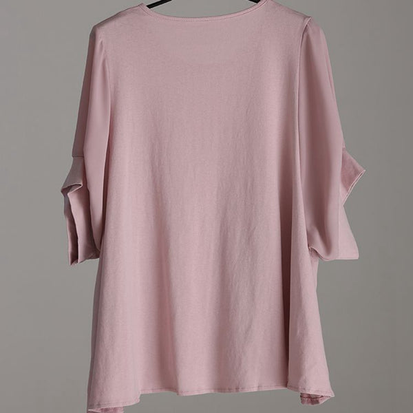 Plus Size Round Neck Flouncing Frill T Shirt Women Blouse T859
