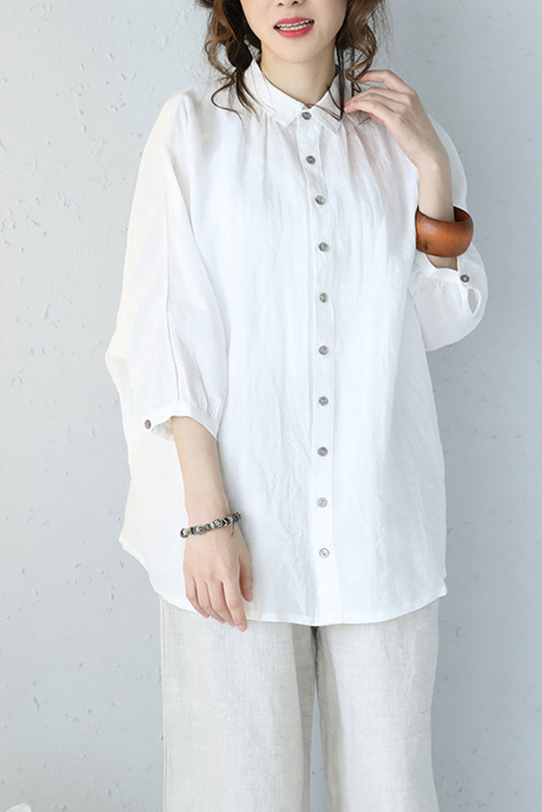 Casual Loose Short Sleeve Button Down T Shirt Women Tops Q1078 - FantasyLinen