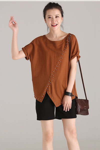 Fashion Asymmetrical Cotton Blouses Women's T Shirt T832
